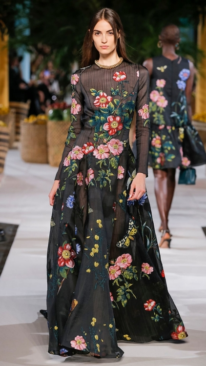 Black floral Oscar De La Renta dress from New York Fashion Week S/S20