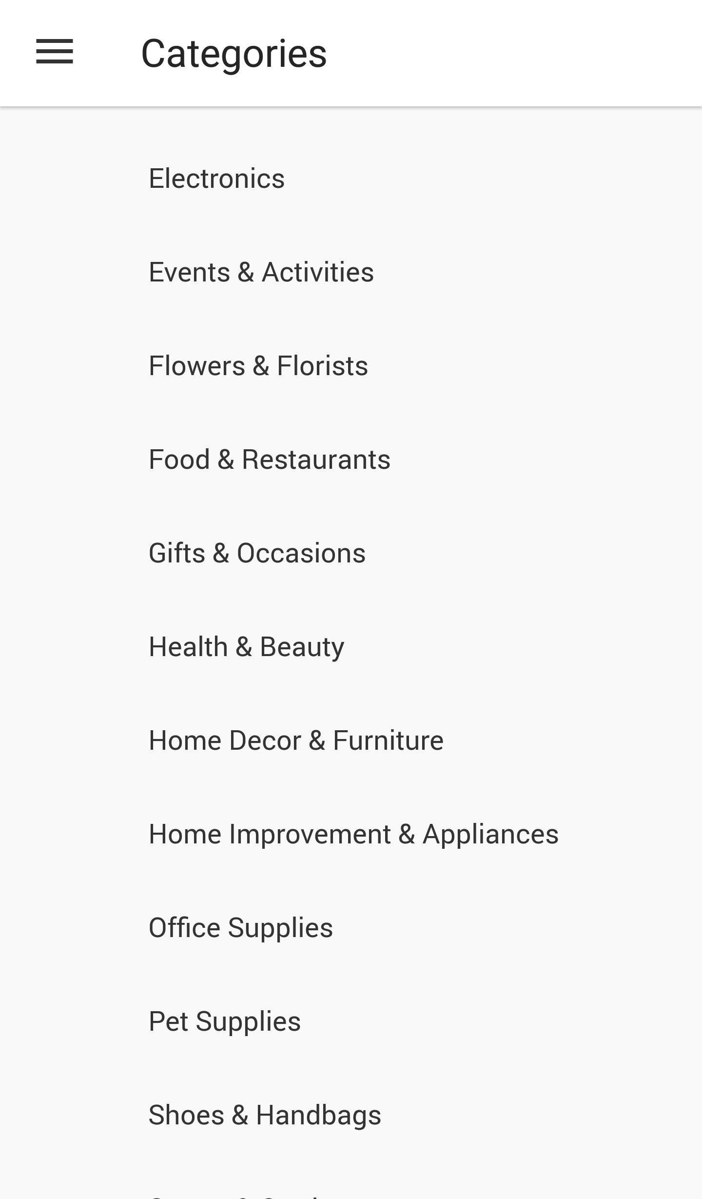 Categories on the Rakuten App